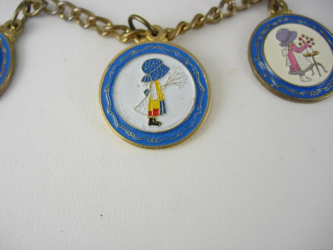 Vintage Holly Hobbie Charm bracelet and Earring Set Clip On Enamel Doll Collectible