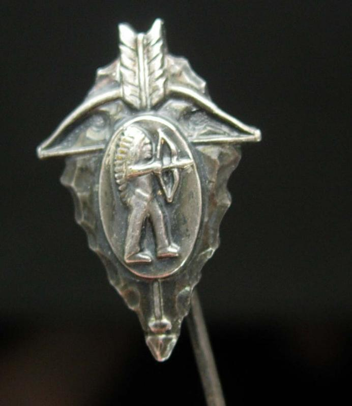 Antique ARROWHEAD Stickpin Sterling Talisman Vintage Tribal Indian mens lapel cravat holder stick pin bow & arrow Indian headdress Chief