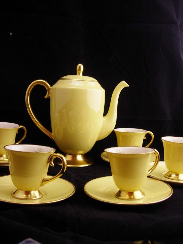 Vintage Flintridge Teaset / demistasse cups and saucers / pale yellow rose china / 6 cups / vintage coffee pot / california pottery