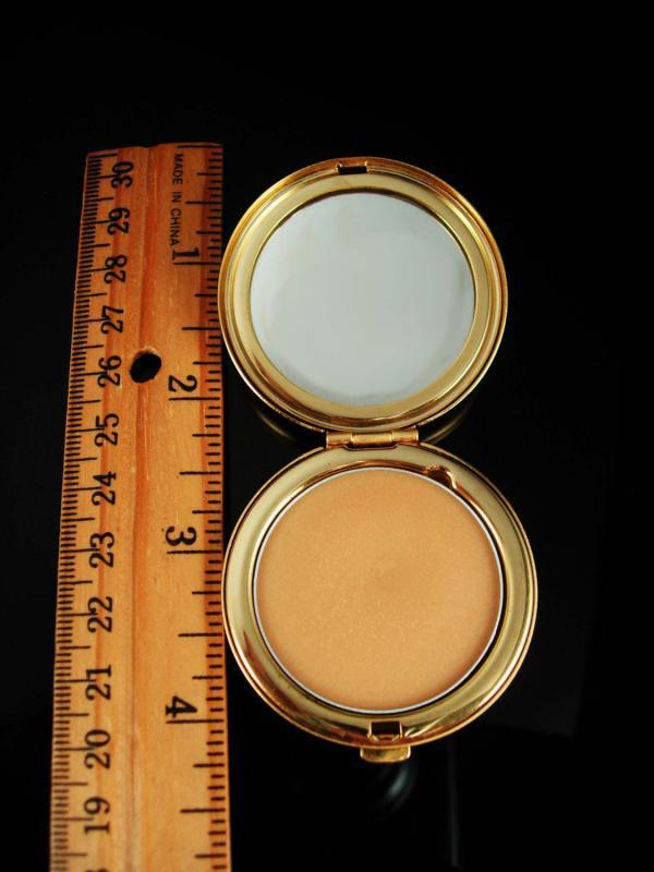 Vintage Perfume Compact locket Star rhinestone gold mirror compartment Smells GREAT