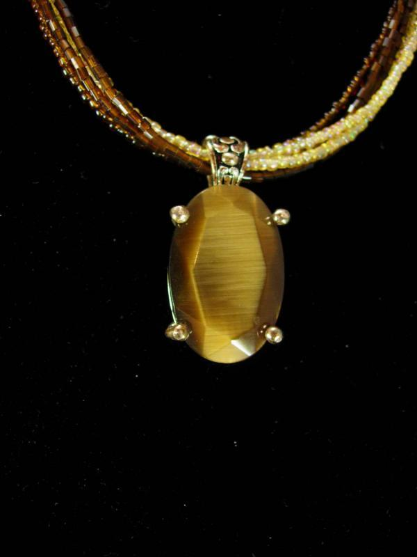LARGE Tiger Eye necklace Vintage Gold Gemstone Metamorphic Rock cats eye womens jewelry anniversary gift beaded necklace