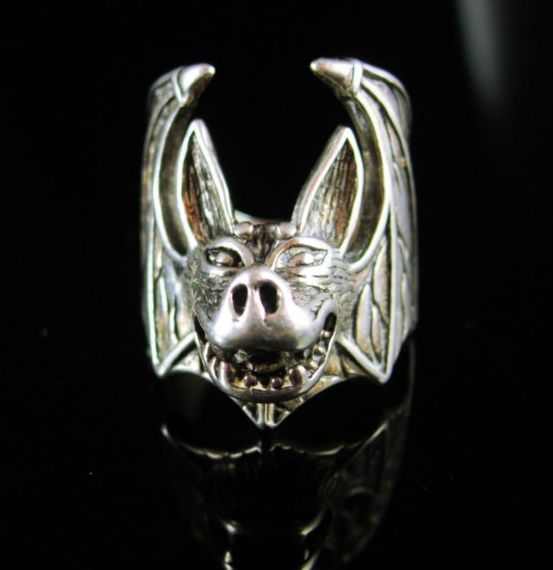 Spooky Bat Ring sterling signed Vintage size 8 mens womens Figural Silver vampire Gothic cool mens gift Rocker Halloween