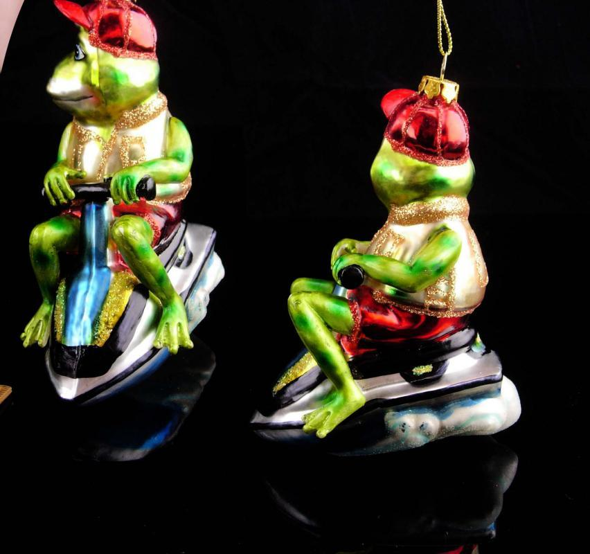 Hilarious FROG ornament / glass ornament / green frog on ski doo / 5