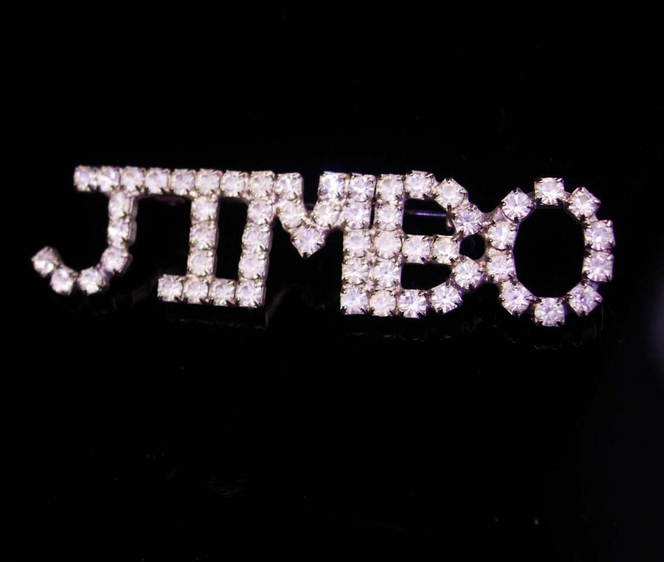 Vintage Rhinestone Brooch / Jimbo Pin / personalized jewelry / jim nickname / mens lapel brooch / womens brooch / estate brooch