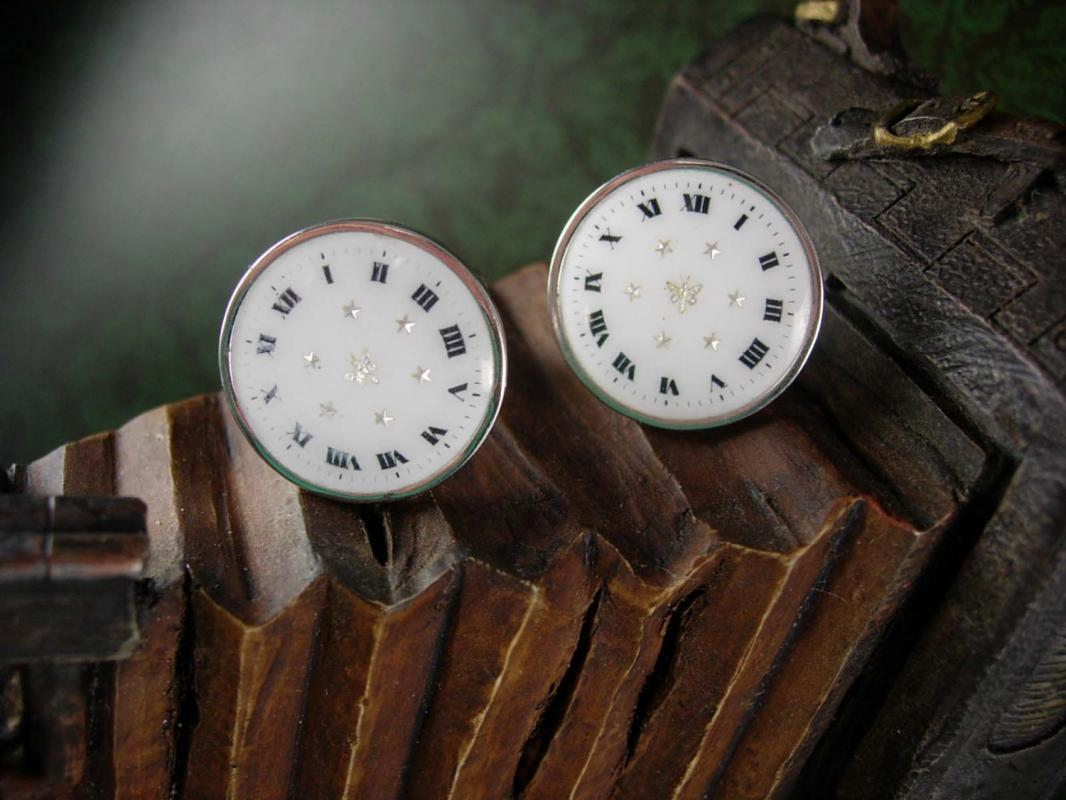 Art Deco Vintage French  Watch Cufflinks Porcelain Clock Butterfly  Cuff Accessory