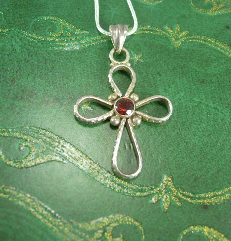 Gothic Garnet Cross necklace sterling pendant 15th 40th 45th anniversary January birthstone Capricorn Aquarius religious christian jewelry