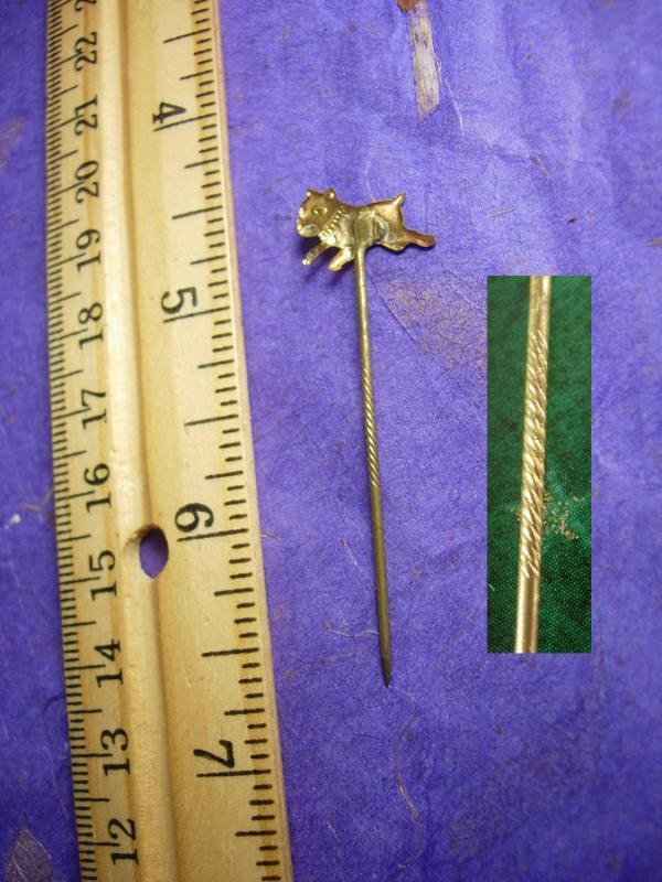 Antique BULLDOG Stickpin Victorian mens lapel pin art nouveau stick pin Cravat holder dog Boxer gold animal cool gift