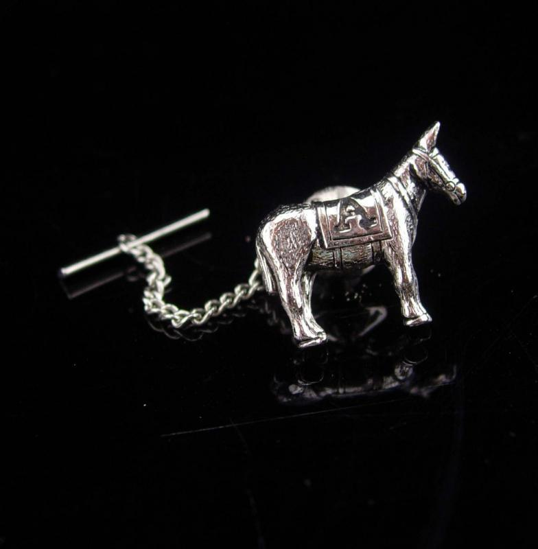 Jackass tie tack  / Democrat donkey / STUBBORN as a MULE / Vintage silver Donkey / Political Figural / Novelty gift