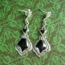 Victorian Style Earrings Sterling Silver Dangle Heart Drops black enamel  Pierced Vintage  Women's Jewelry Anniversary gift