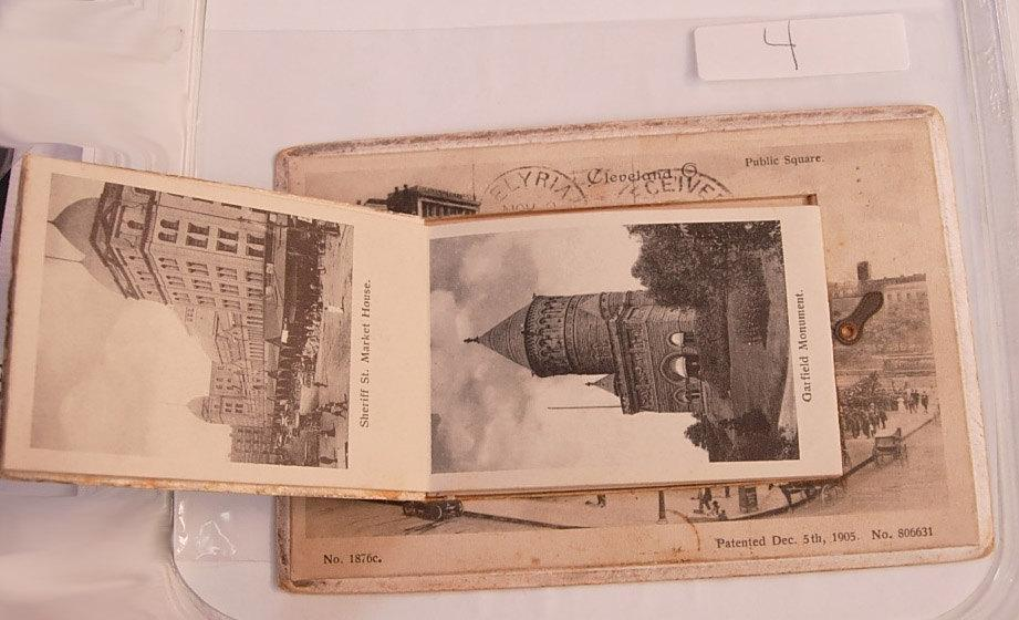Postal History PopUp Postcard Rare Smaller Pictures with Tin Lock Device cleveland ohio