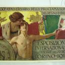 Vintage Foreign Postcard 50th Anniversario worlds fair 1911 International art  exposition art deco poster