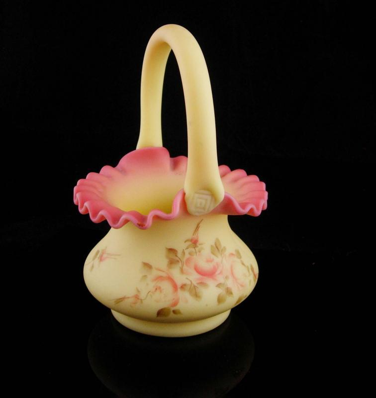 Yellow Basket vase / burmese fenton / signed  handpainted glass  / Ruffled PINK Fluted edges / Vintage candy or snack dish / 7
