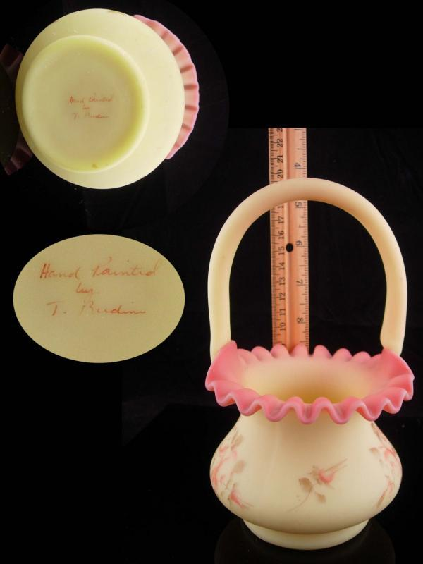 Yellow Basket vase / signed  handpainted glass  / Ruffled PINK Fluted edges / Vintage candy or snack dish / 7