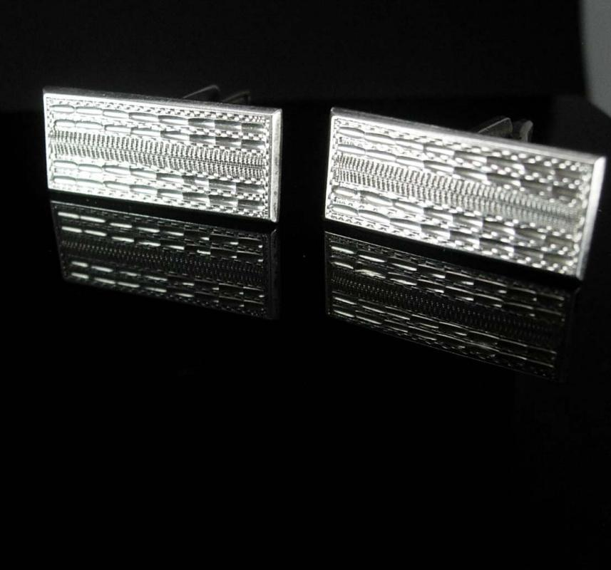 Large sterling Cuff links GORGEOUS English silver Hallmarked JB Cufflinks Antique Rectangle Sterling  Wedding groom anniversary gift
