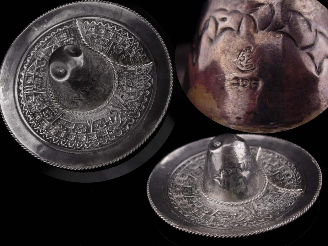 Sterling trinket dish / Large Sombrero / 925 & Mexico Assay Eagle #52 / silver hat / mens cufflinks tray/ novelty dish / Mayan calendar
