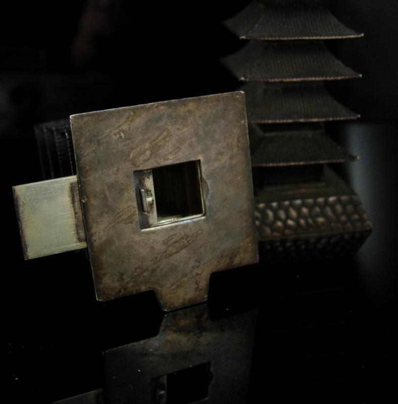 Pagoda sterling Salt Pepper Shaker set 950 chinese silver Oriental Asian design wedding gift collector gift