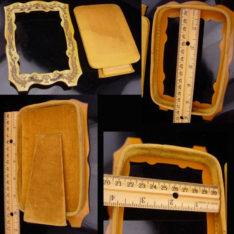 Antique Frame / art deco Photo frame / yellow celluloid wedding frame / Vintage carved mourning standup frame