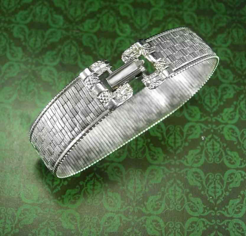 Goldette  Bracelet Stunning silver buckle design Brilliant diamond cut sparkle signed costume jewelry