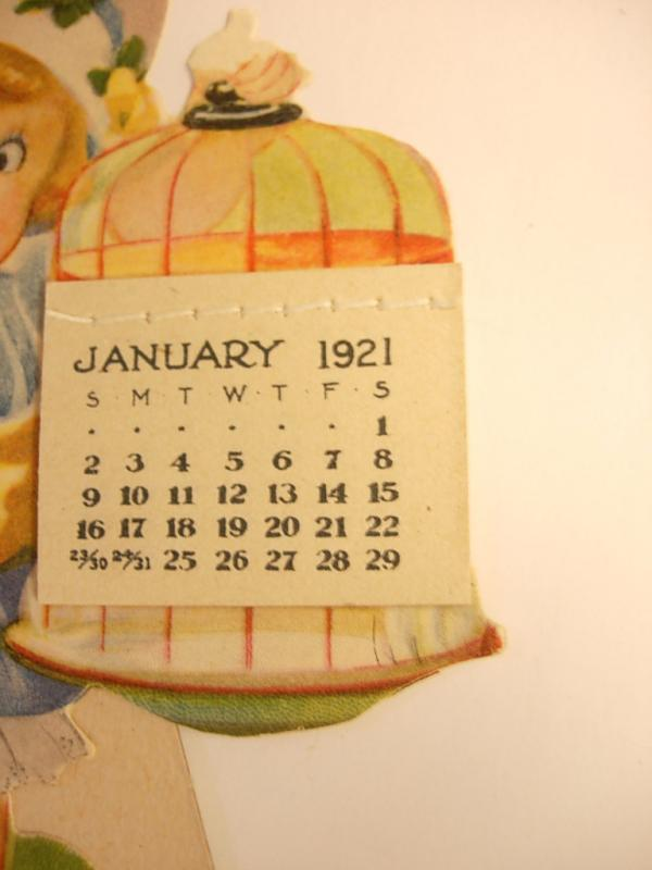 Vintage Victorian Mechanical Jointed Paperdoll Greeting  Card 1921 With flip calendar scrap
