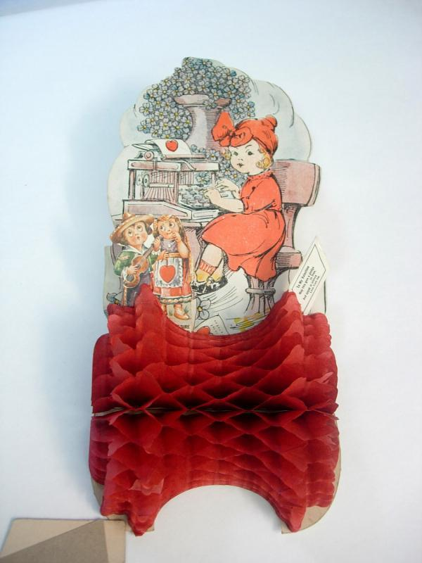 Vintage Valentine Accordion Die Cut Fold Out Mechanical Paper Doll Greeting Card