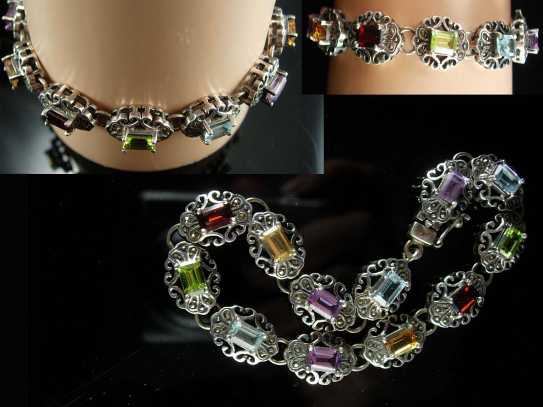 Stunning Amethyst bracelet Multi gemstones citrine peridot blue topaz Garnet Marcasites 23.4 grams Loaded with sparkle