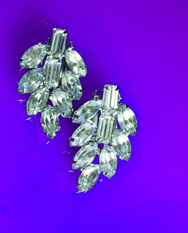 Vintage Fancy Rhinestone Earrings Wedding jewelry bright pierced dangle drop  Anniversary gift silver formal evening out