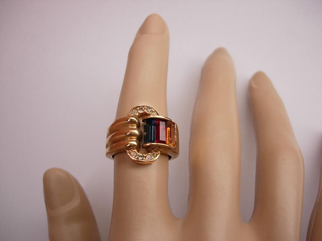 Vintage Buckle Ring rhinestone Jewel Fancy Wedding Cocktail costume jewelry fancy multi stone gold band size 6