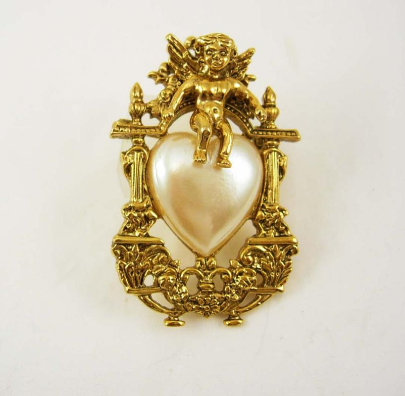 Romantic brooch Vintage Pearl Heart Angel Brooch Cherub Victorian Design Birthday Anniversary 1928 jewelry