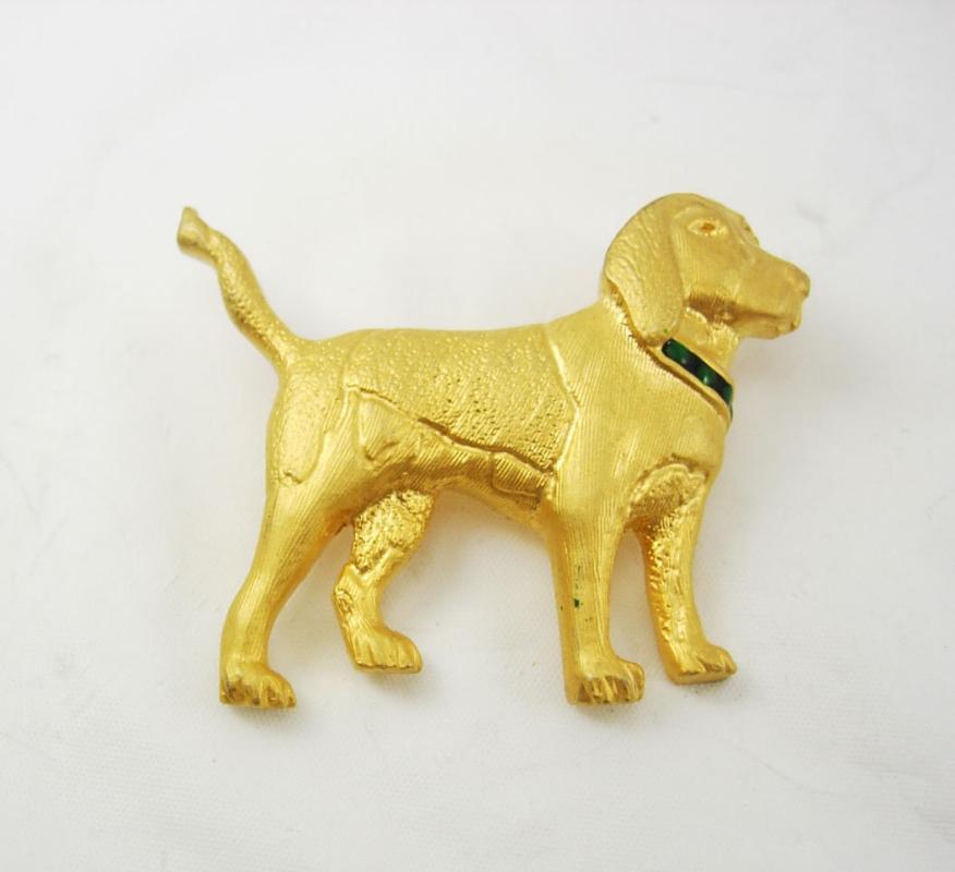Vintage Labrador Golden Retriever Brooch Canine Dog Enamel Green Blue Jeweled Collar Birthday Anniversary pin dog groomer gift