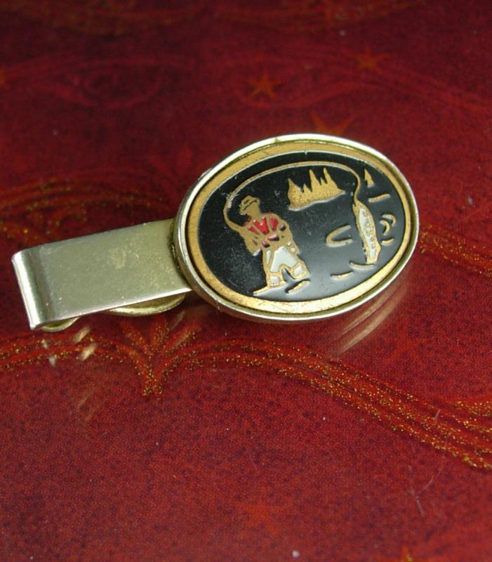 Enamel Figural FISHERMAN Gold  Tie Clip Vintage Fish Catch of the Day Men's tie Accessory cravat holder Thank you gift Tie bar