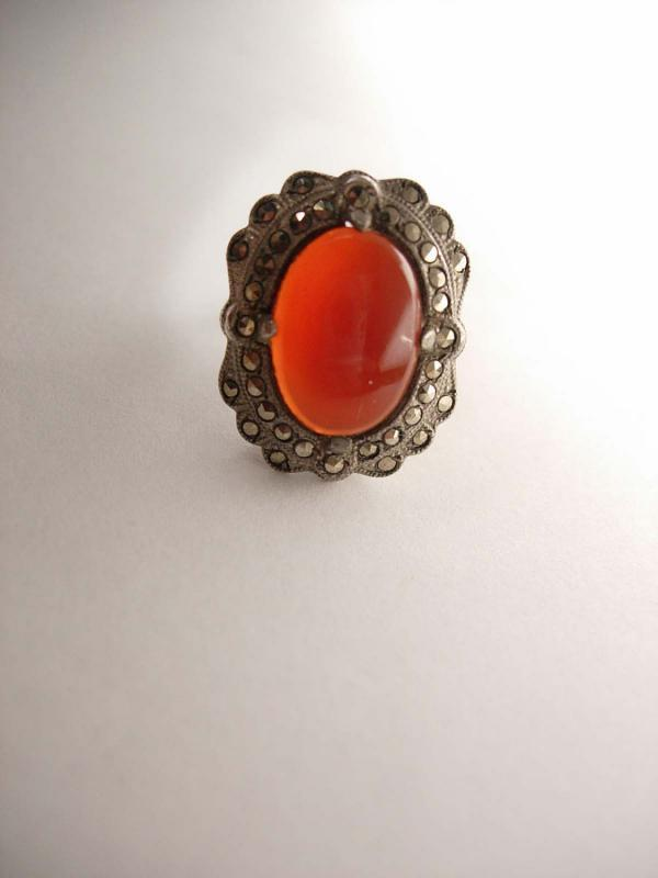 Vintage Carnelian Marcasite Ring Art Deco Sterling Siver 4.9 Grams Size 3 Birthday Valentines ladies womens jewelry