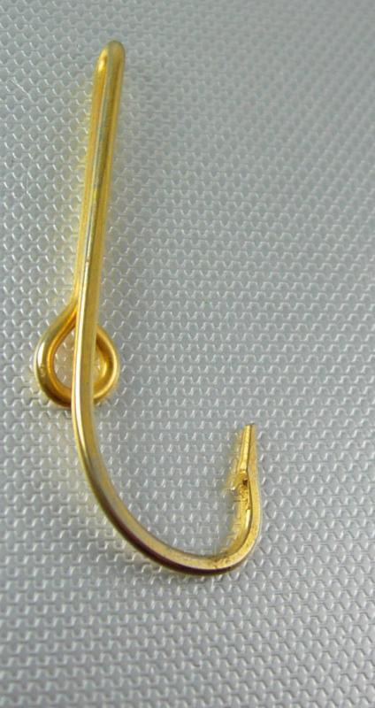LARGE Fish HOOK Tie clip vintage gold hat clip fishermen sportsmen Fathers DADS Fathers Day cravat holder Tie bar