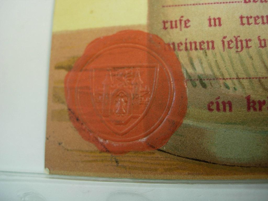Vintage Foreign Postcard German Stein HB with a Wax Seal