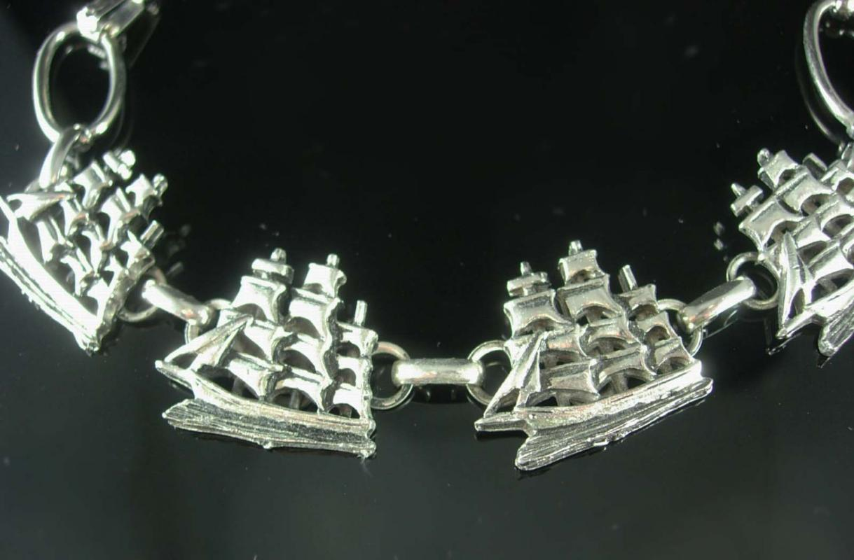Pirate ship bracelet Schooner sailing jewelry  Vintage silver sail boats  Sailor Nautical