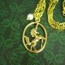 Magical  Unicorn necklace gold Pearl charm Mystical Fantasy Womans girls Bridesmaid gift