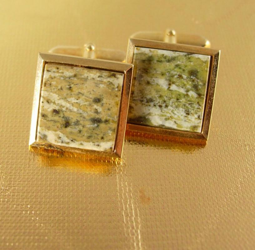 Earthtone Granite Cufflinks Vintage Olive Green Gold Filled Neutral Colors igneous Rock Mystic geek hipster jewelry