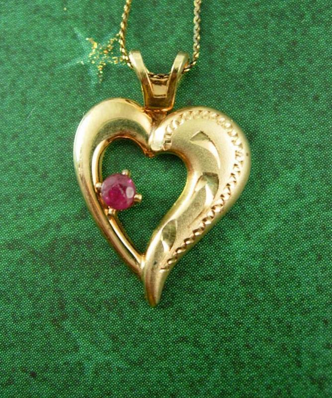 Romantic Ruby Necklace Gold plate Heart pendant Vintage Small Charm Pendant Birthday Birthstone July Tuesday Gemstone Jewelry