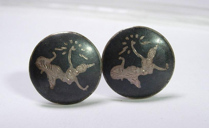 Vintage Sterling Silver Cufflinks with Siam Goddess Figure cuff links