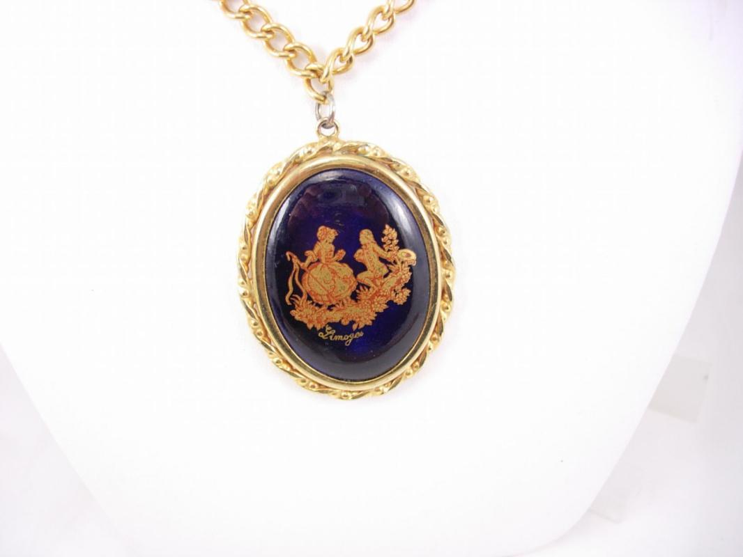 Vintage Victorian Cameo Necklace Hand Painted Birthday Gift for mom Wedding Bridesmaid Anniversary wife  Signed Limoges Neoclassical