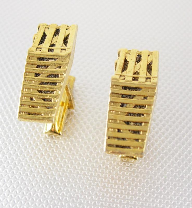Unusual Shipping Crate Cufflinks Vintage Gold plated Modernist Fences Black Enamel Industrial Figural Novelty Ranching