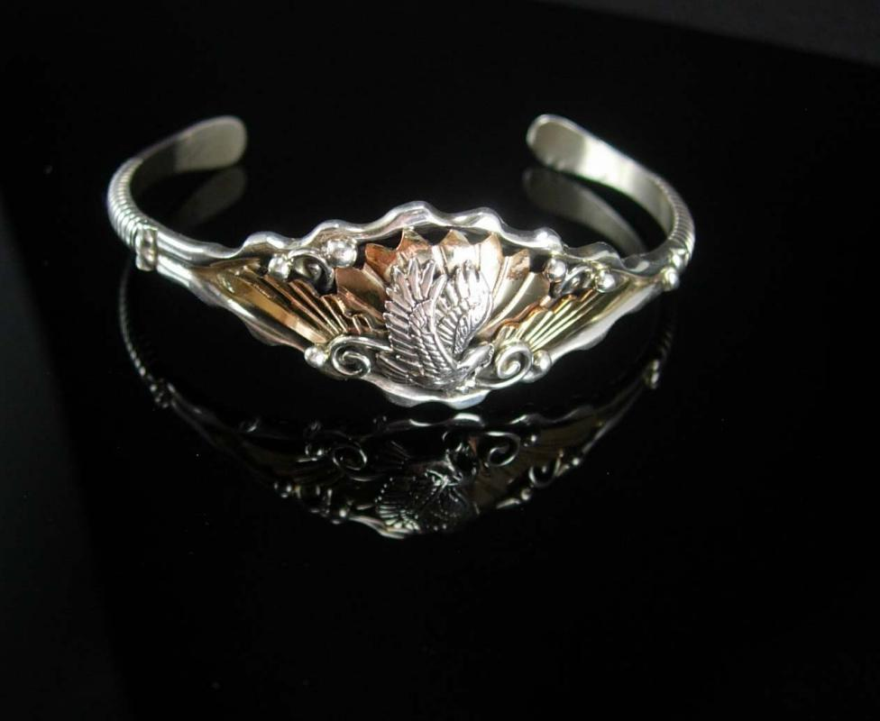 STERLING Bikers Eagle Bracelet Ladies Silver & 18kt gold overlay cuff  womens jewelry Indian design Rocker Goth