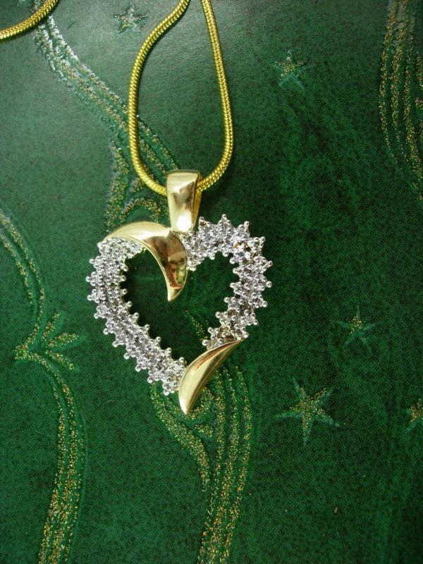Anniversary genuine diamond Heart Pendant Vintage necklace sweetheart  sterling bridesmaid mother of the bride