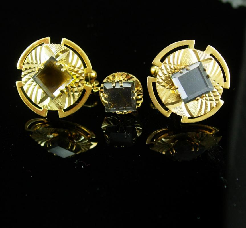 Diamond cut Cuff links gold  Vintage Hematite color Cufflinks Rhinestone Tie Tac  Tack Wedding Tuxedo suit mens gift Original box