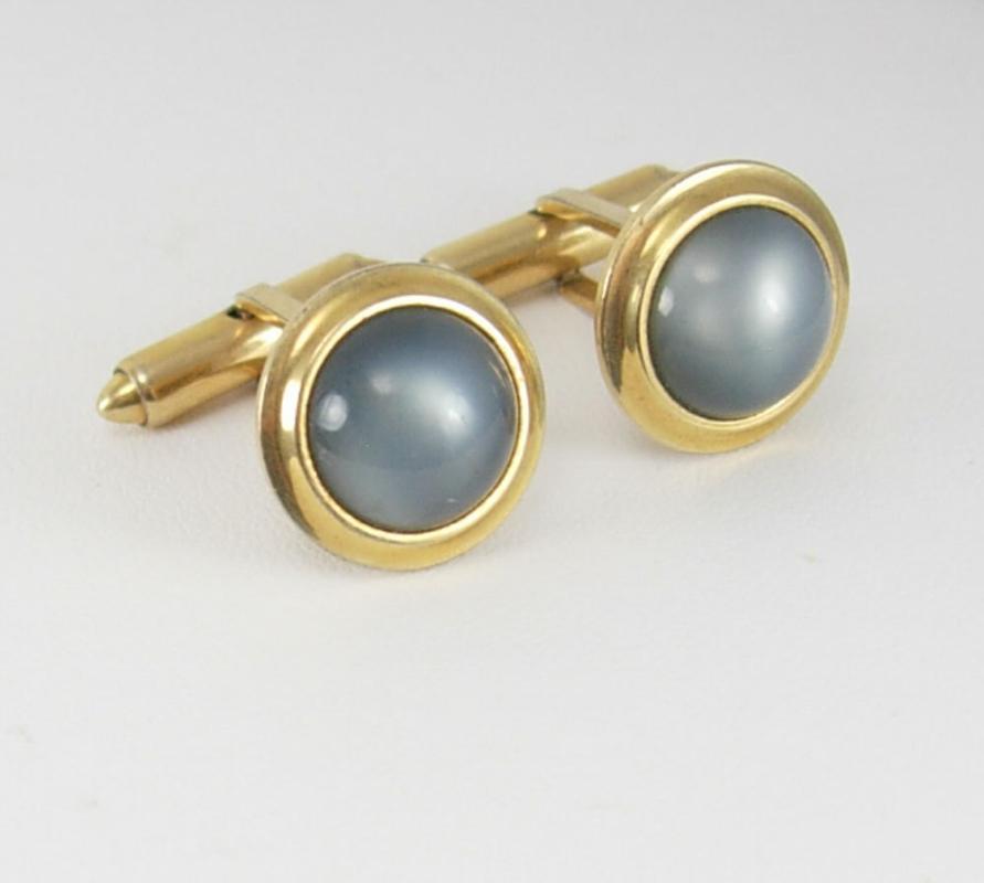 Vintage Grey Moon Glow Cufflinks Goldtone Wedding Birthday Business Signed Krementz