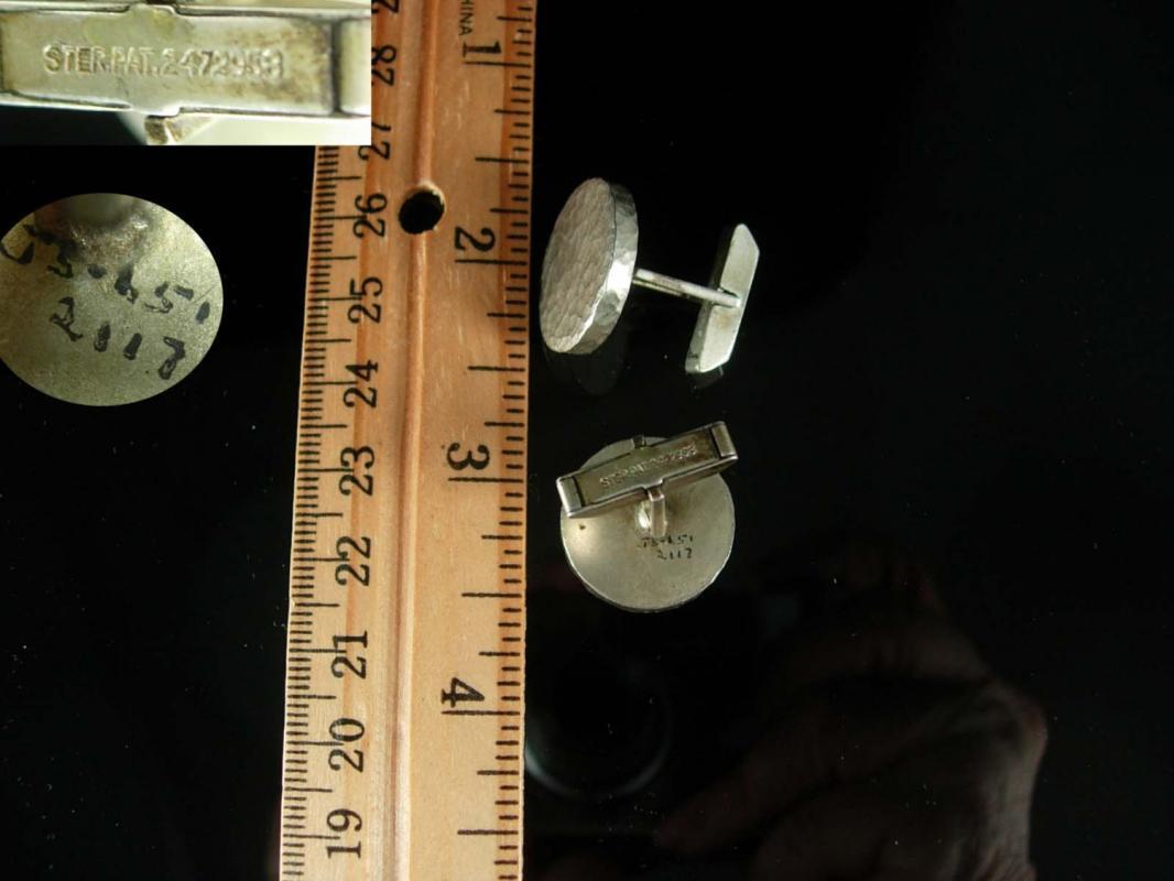 Brutalist Sterling silver Cufflinks Signed j5-651 Vintage Jacob M. Oldak  Fine Jewelry