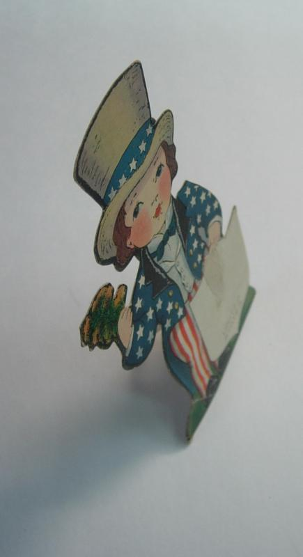 Vintage Die Cut Fold Out Mechanical Paper Doll Uncle Sam Patriot Greeting Card
