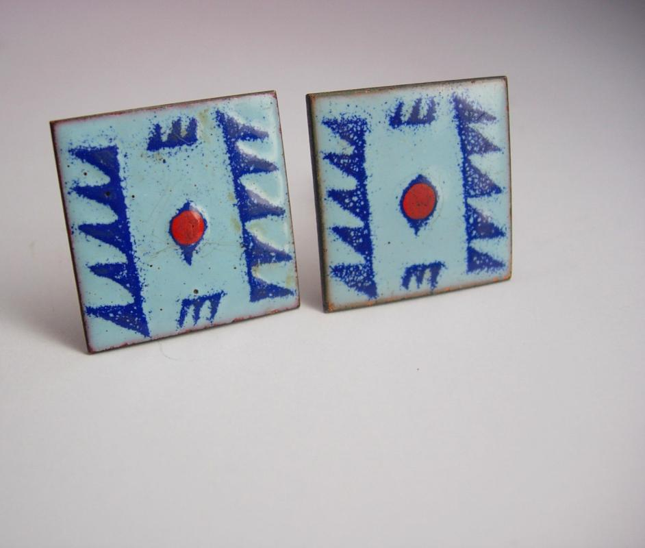 Indian Jewelry Vintage Native American Cufflinks Enamel Blue Red Tribal Copper cuff links artisan jewelry mens womens gift