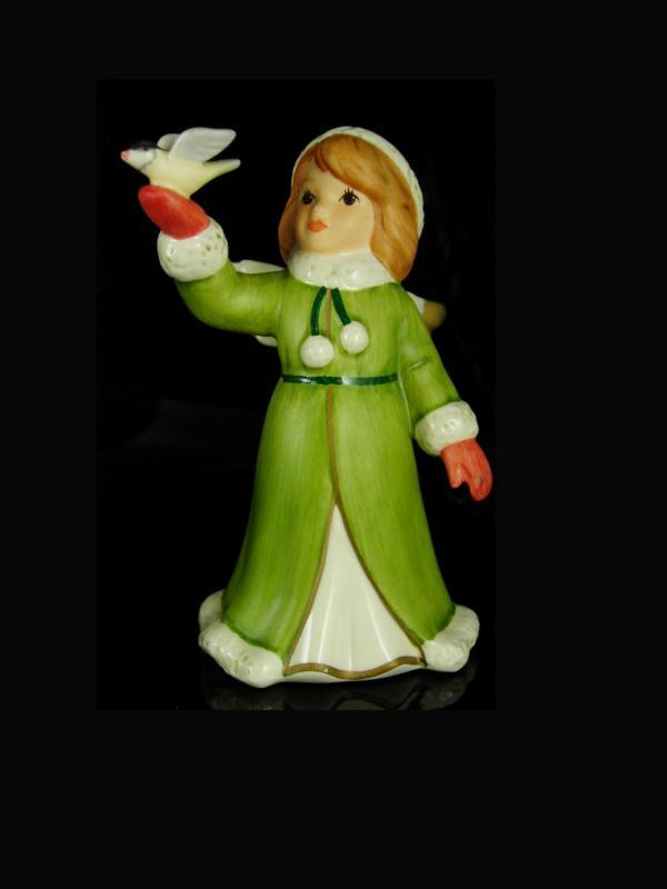 Goebel Snow Angel Figurine Vintage statue with bird green coat girl stocking stuffer novelty dove