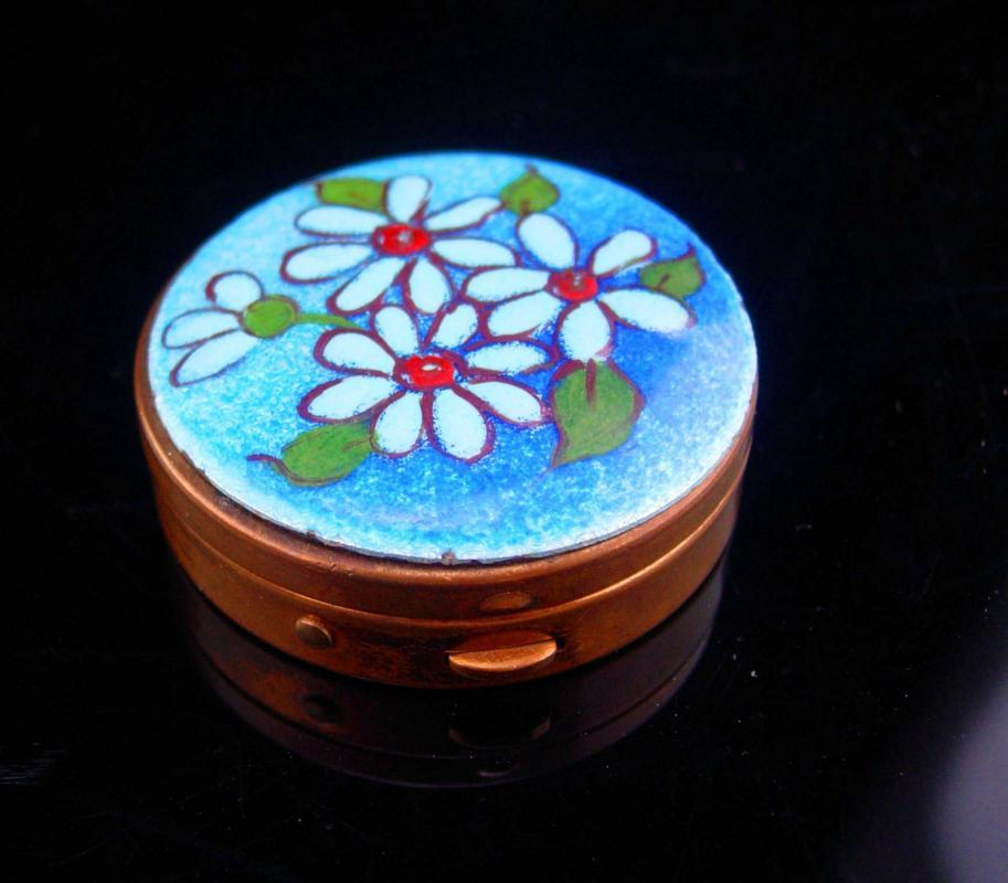 Vintage Ring Box / Miniature Trinket box / snuff casket / Rosary case / Enamel flowers / Hand Made Blue green keepsake