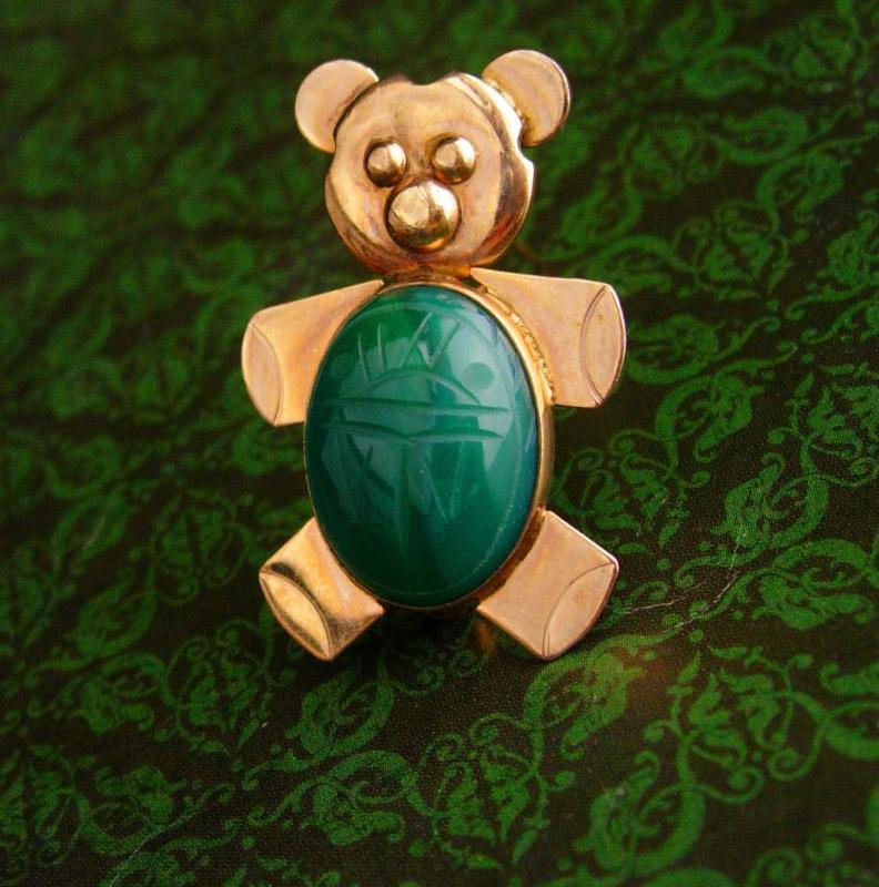 Vintage Bear Pin / Teddy bear brooch / scarab gold filled pin / Animal jewelry / Zoo Gay culture / sweetheart jewelry / jelly belly